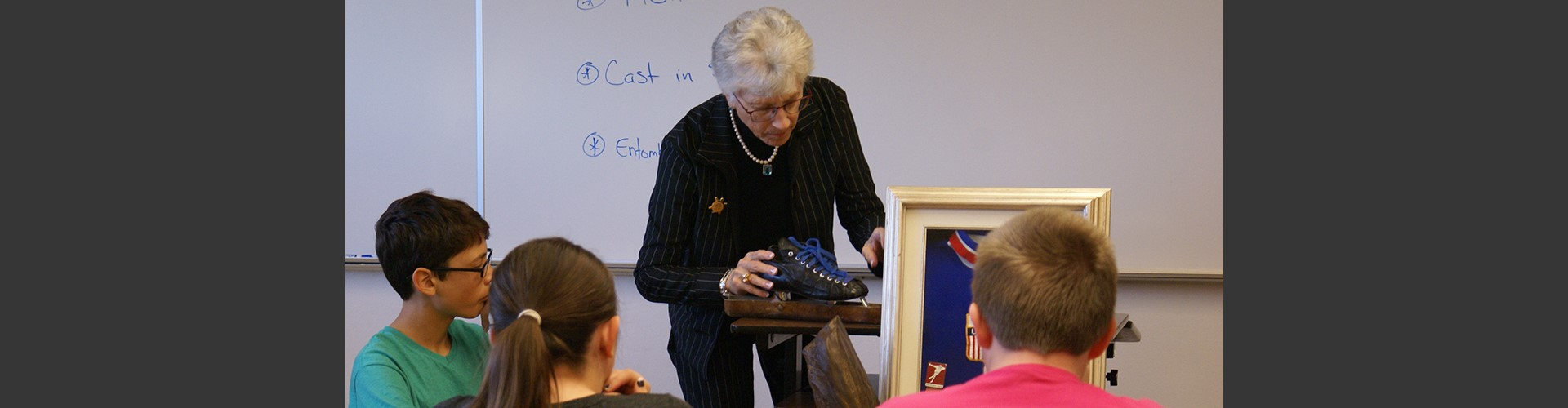 Judy Mark, 1964 Olympic Gold Medalist, visits Franklin Middle School.